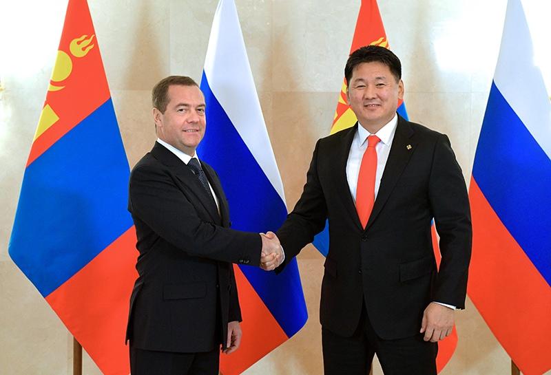 Дмитрий Медведев и премьер-министр Монголии Ухнаагийн Хурэлсух