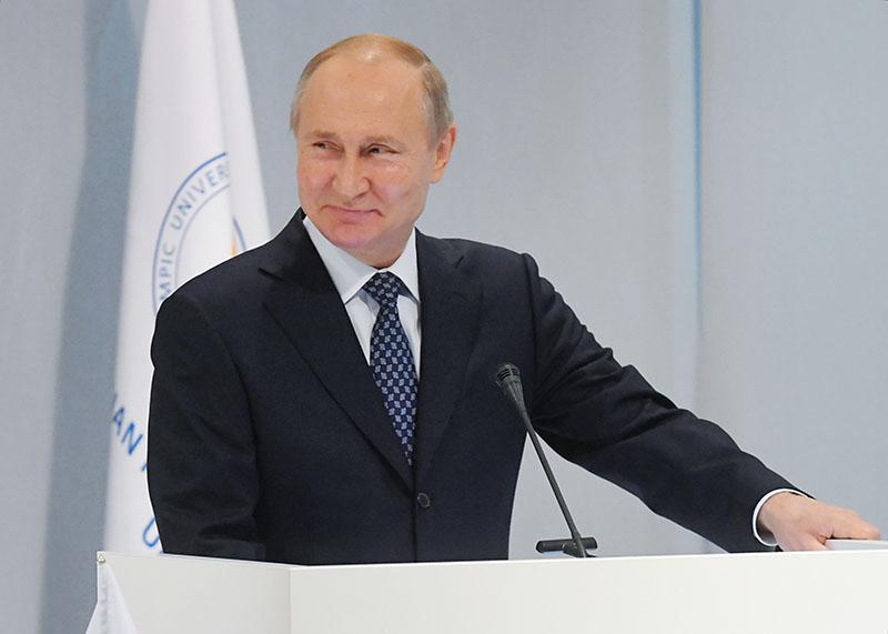Владимир Путин выступает на мероприятии в честь 10-летия Российского международного олимпийского университета в Сочи