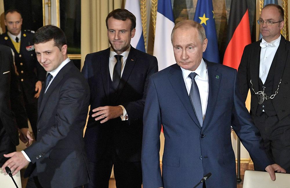 Владимир Путин и Владимир Зеленский на встрече Нормандской четверки