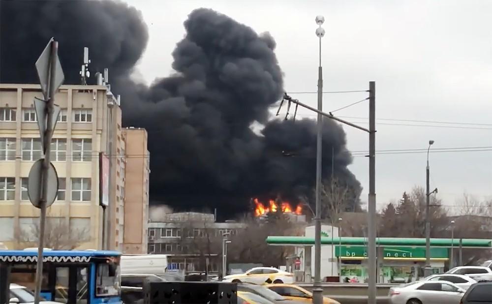 Пожар в промзоне в Москве