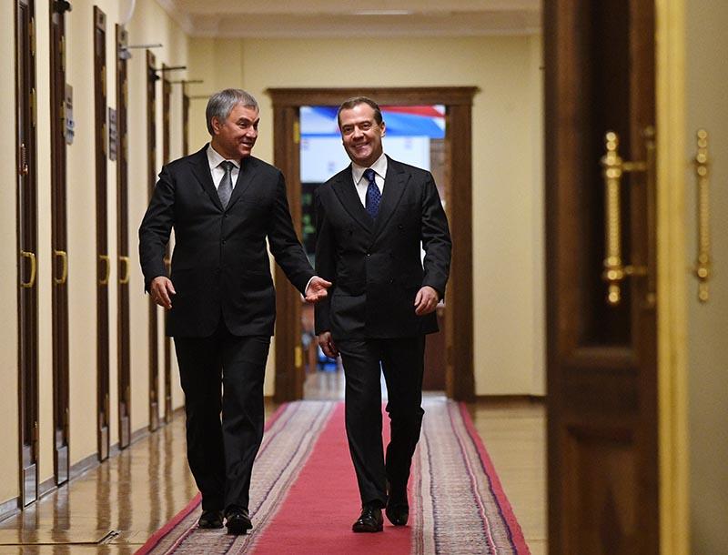 Дмитрий Медведев и Вячеслав Володин в здании Госдумы