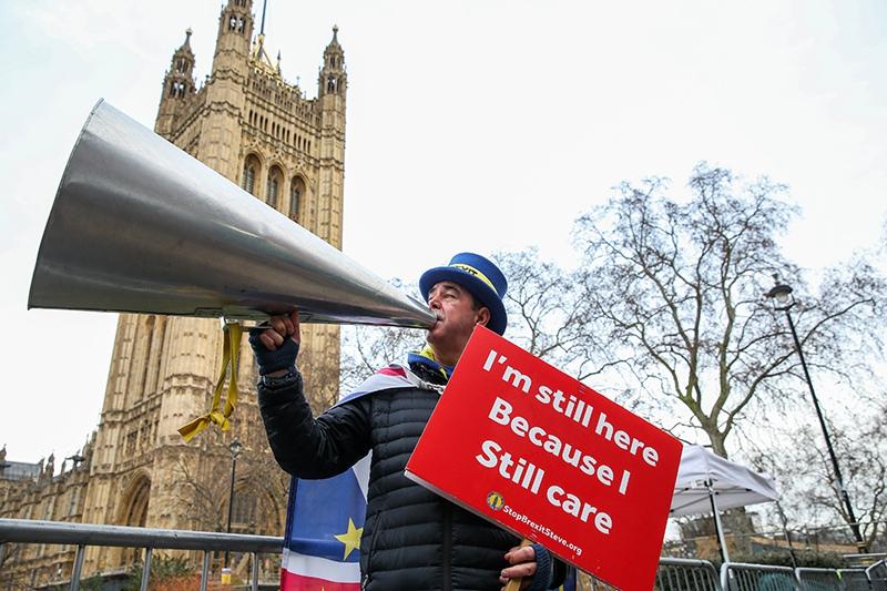 Brexit. Протестующий во время демонстрации в Лондоне