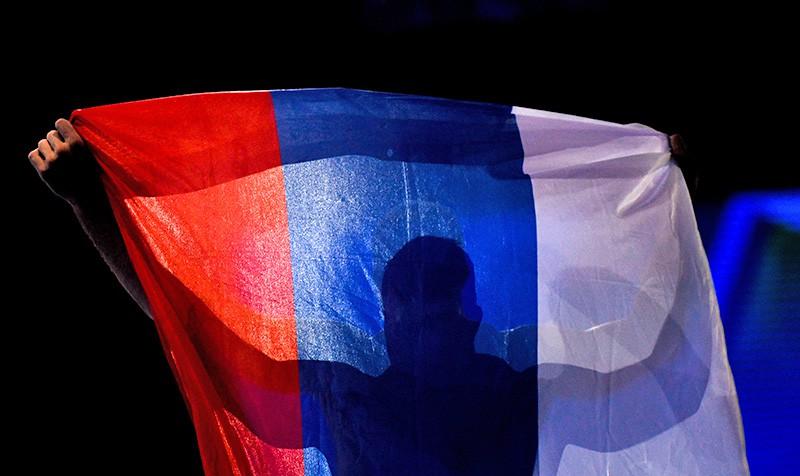 Спортсмен с Российским флагом