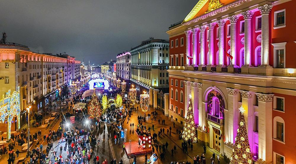 Празднование Нового года на Тверской улице в Москве