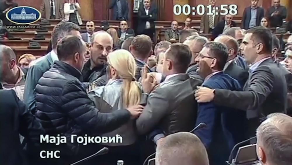 Драка в Сербском парламенте