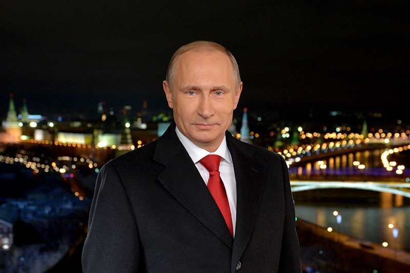 Владимир Путин во время новогоднего обращения к россиянам