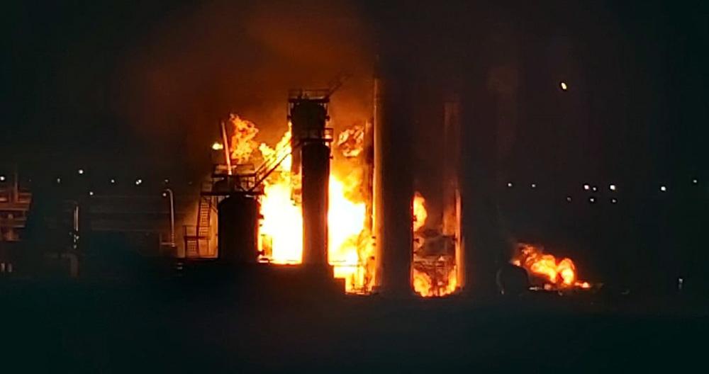 Пожар на НПЗ в Ухте