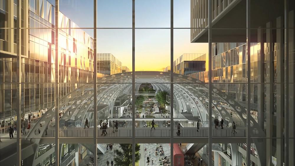 Сквер и пешеходная зона на территории Рижского грузового двора