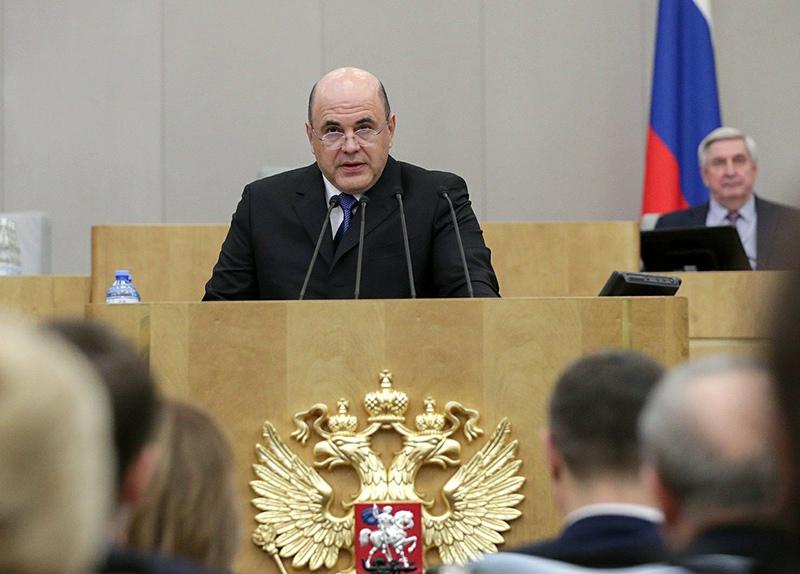 Михаил Мишустин во время выступления на заседании Госдумы
