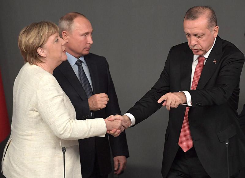 Владимир Путин, Ангела Меркель и Реджеп Тайип Эрдоган