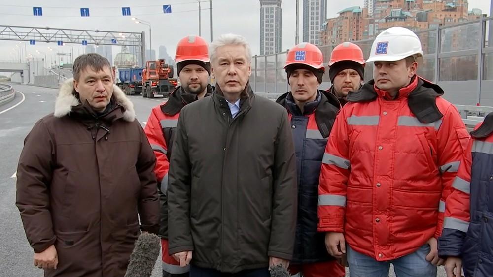 Сергей Собянин на открытии автодороги