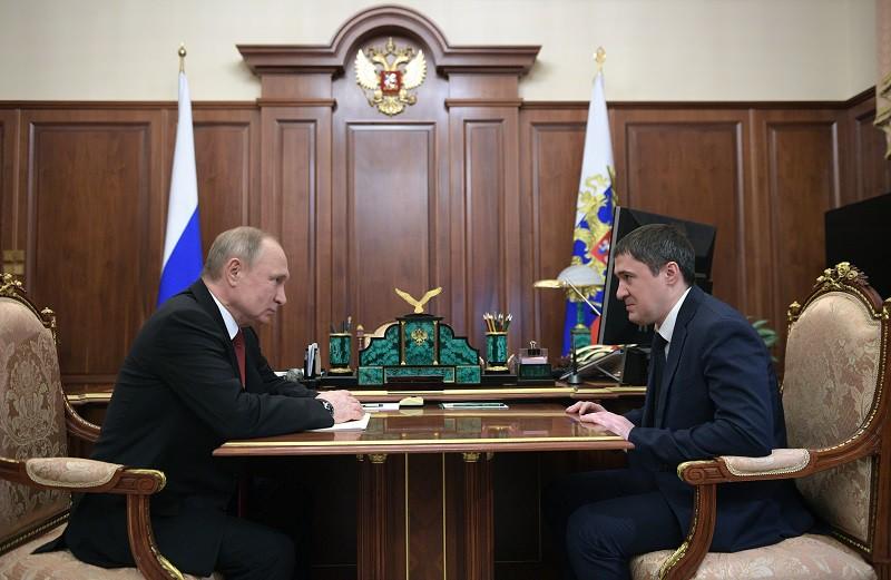 Президент Владимир Путин и врио губернатора Пермского края Дмитрий Махонин