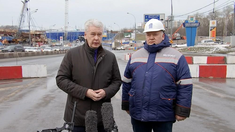 Сергей Собянин на строительстве транспортной развязки