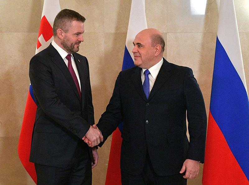Михаил Мишустин и председатель правительства Словакии Петер Пеллегрини