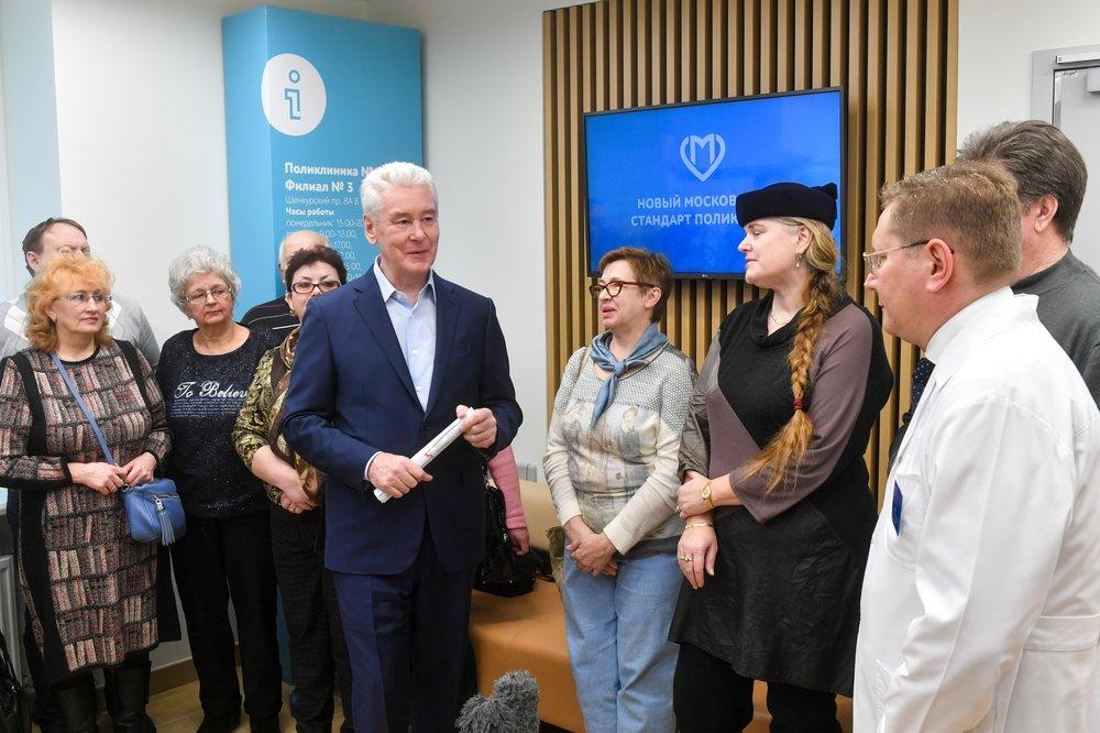 Сергей Собянин посетил шоурум поликлиники нового стандарта в Бибирево