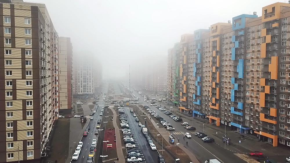 Микрорайон в тумане