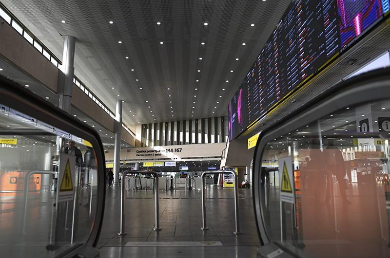 Пустой зал вылета в аэропорту Шереметьево
