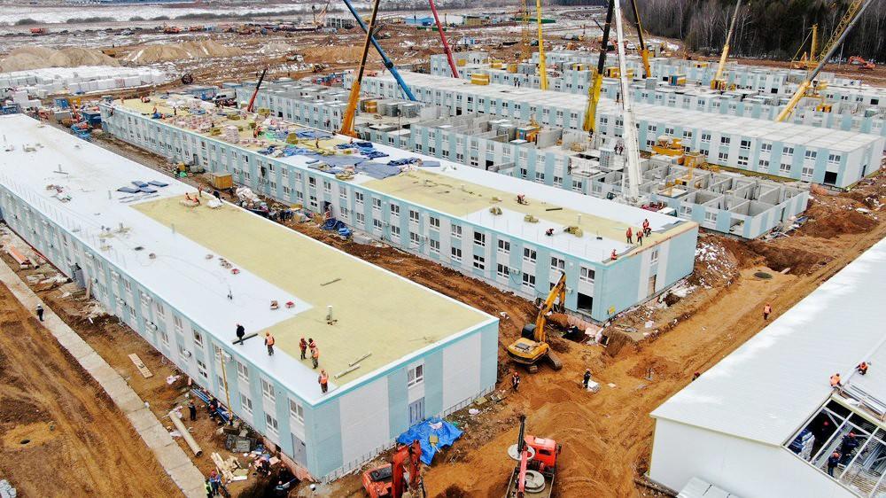 Ход строительства комплекса новой инфекционной больницы в ТиНАО