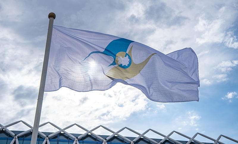 Флаг с символикой Евразийского экономического союза (ЕАЭС)