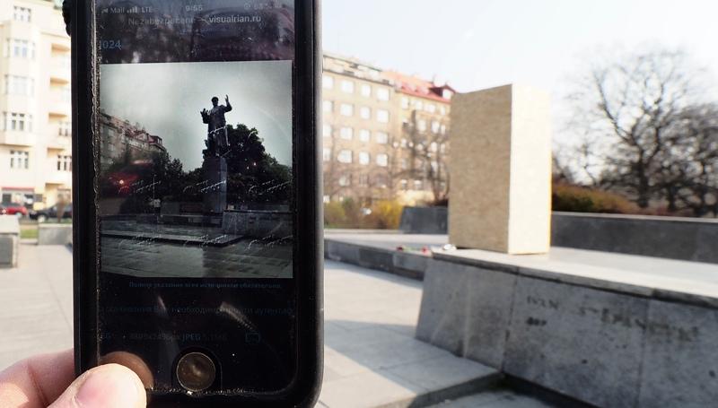 Изображение памятника маршалу СССР Ивану Коневу в Праге