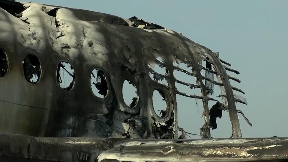 Последствия пожара в самолете