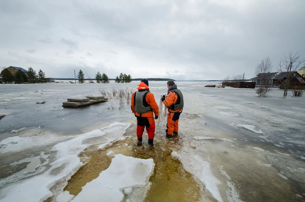 Сотрудники МЧС работают во время паводка