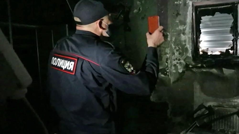 Полиция на месте возгоряния