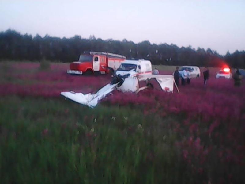 Последствия падения легкомоторного самолета в Рязанской области