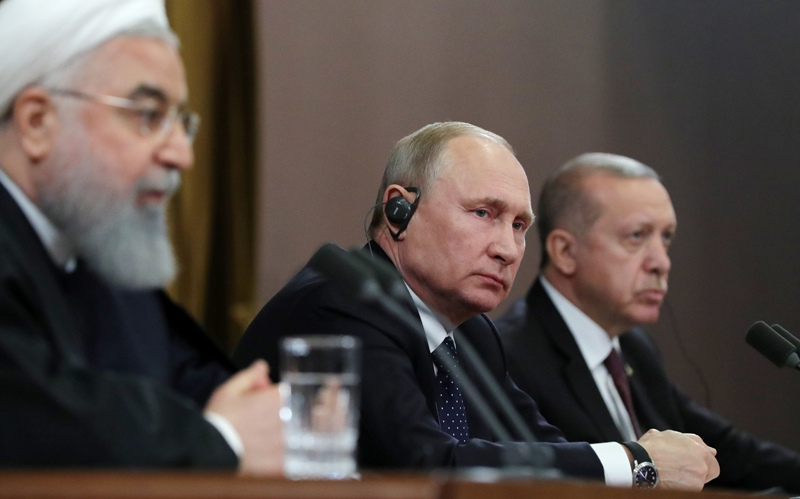 Владимир Путин, Реджеп Тайип Эрдоган и Хасан Роухани