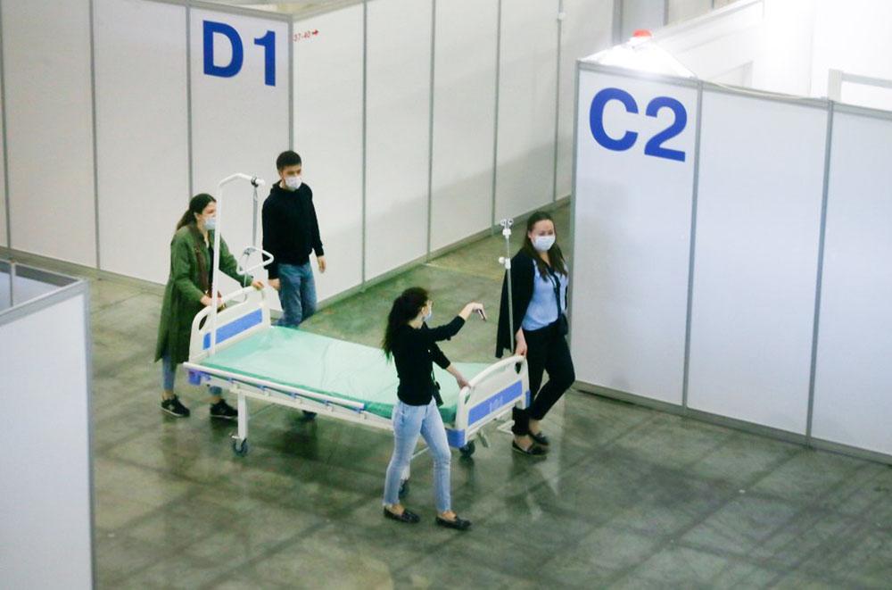 """Временный инфекционный центр для лечения больных коронавирусом на территории выставочного комплекса """"Крокус Экспо"""""""