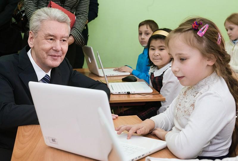 Сергей Собянин и школьники