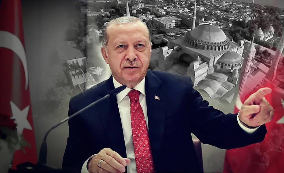 Коллаж: Реджеп Тайип Эрдоган и собор Святой Софии в Стамбуле
