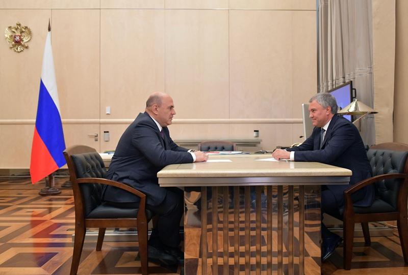 Михаил Мишустин и Вячеслав Володин во время встречи