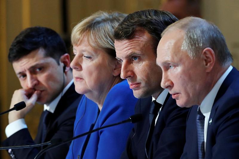 Владимир Путин, Эмманюэль Макрон, Ангела Меркель и Владимир Зеленский