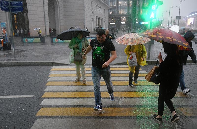 Пешеходы переходят дорогу в Москве во время дождя