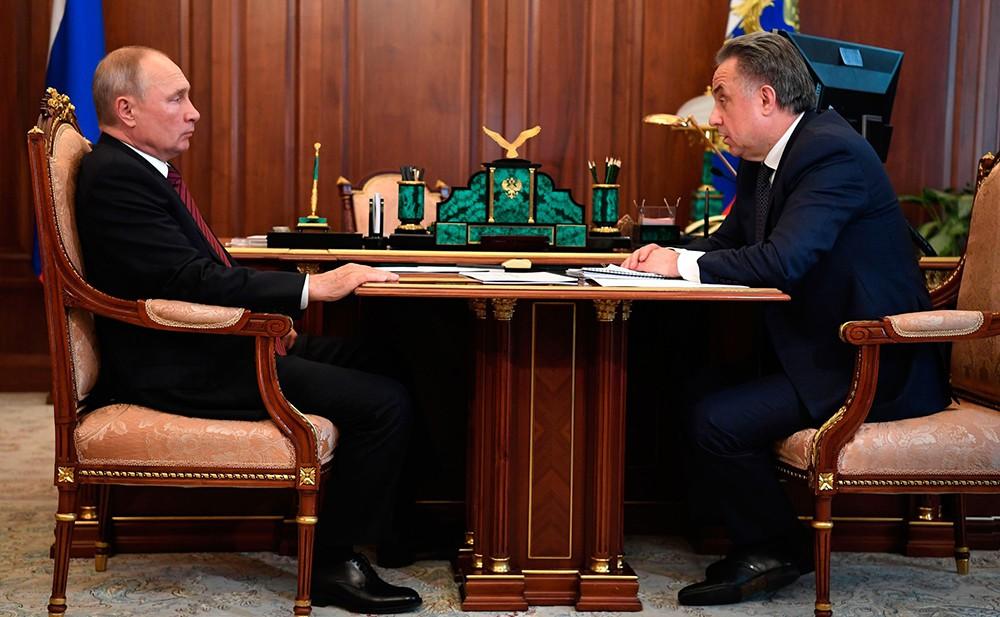 Владимир Путин и Виталием Мутко