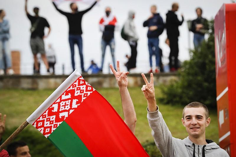 Участники акции протеста в Белоруссии