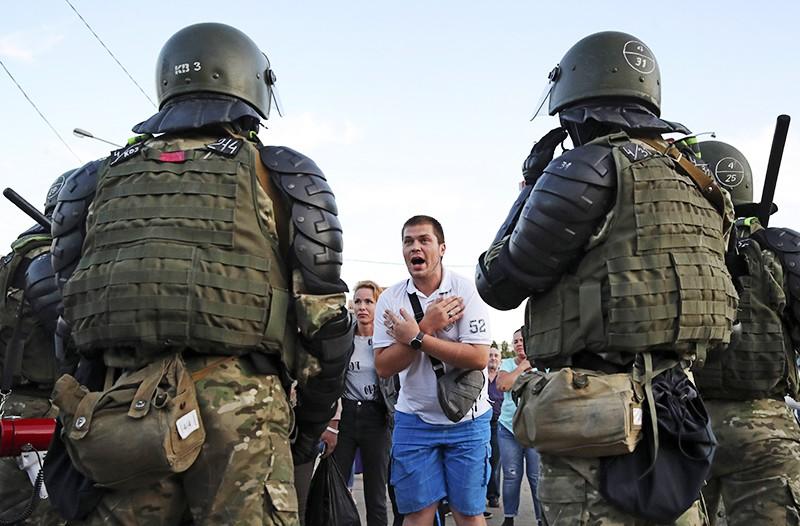 Участники митинга в Минске