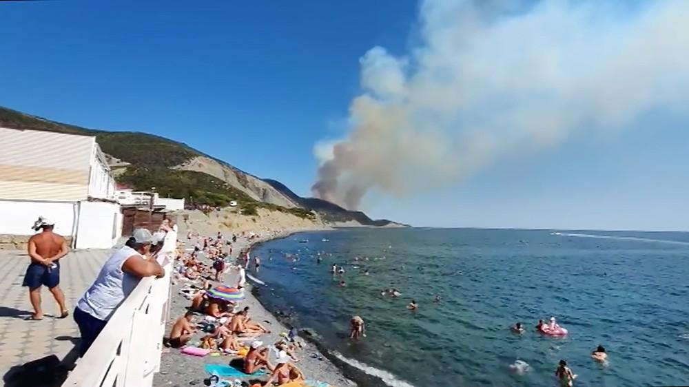 Лесные пожары на берегу Черного моря