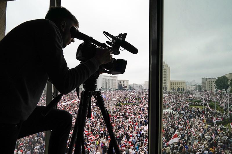 Работа журналистов во время протестов в Минске