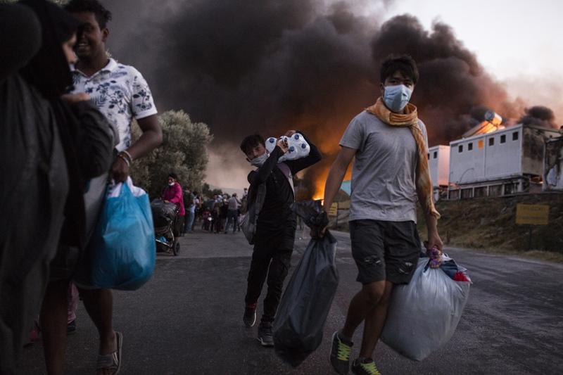 Пожар в лагере мигрантов Мориа в Греции