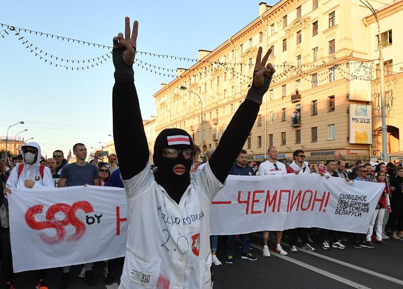 """Участники акции протеста """"Марш справедливости"""" в Минске"""