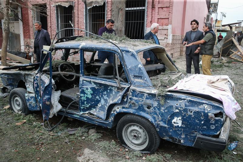 Обстрелы города Гянджа в Азербайджане