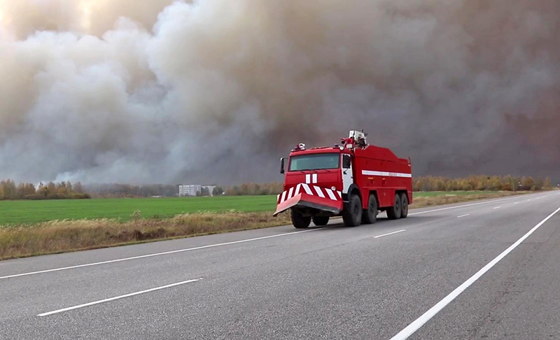 Пожар на складе боеприпасов в Рязанской области