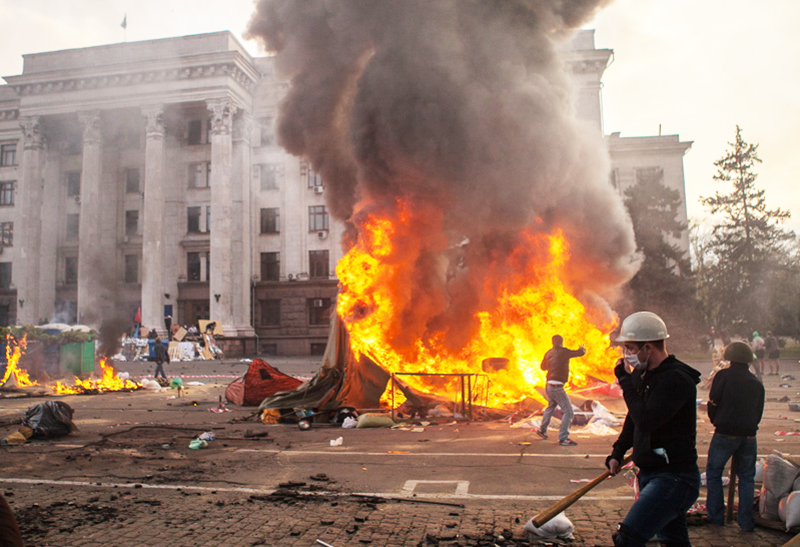 Украина. Одесса. Пожар у здания областного совета профсоюзов