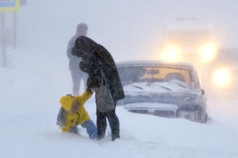 Сильный снегопад в Норильске