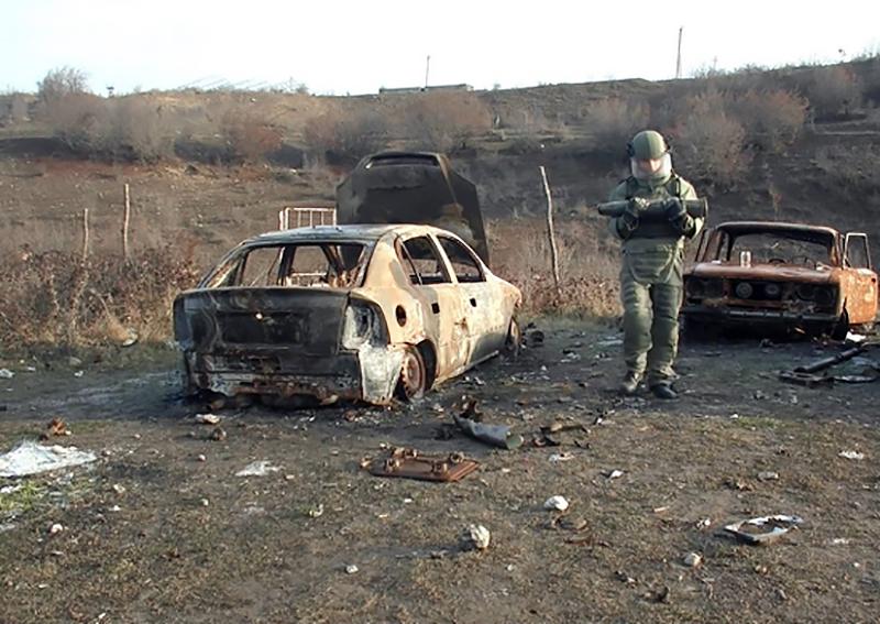 Работа российских саперов в Нагорном Карабахе