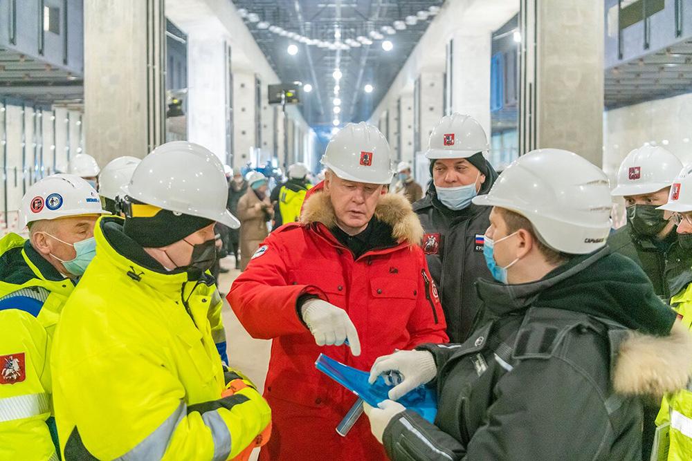 Сергей Собянин осмотре ход строительства метро