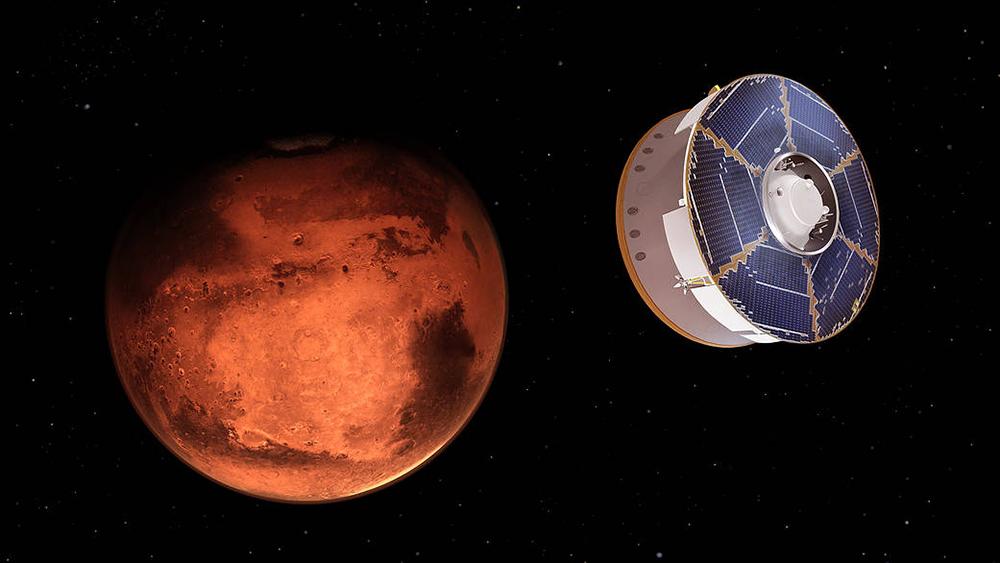 Подлет космического модуля к Марсу