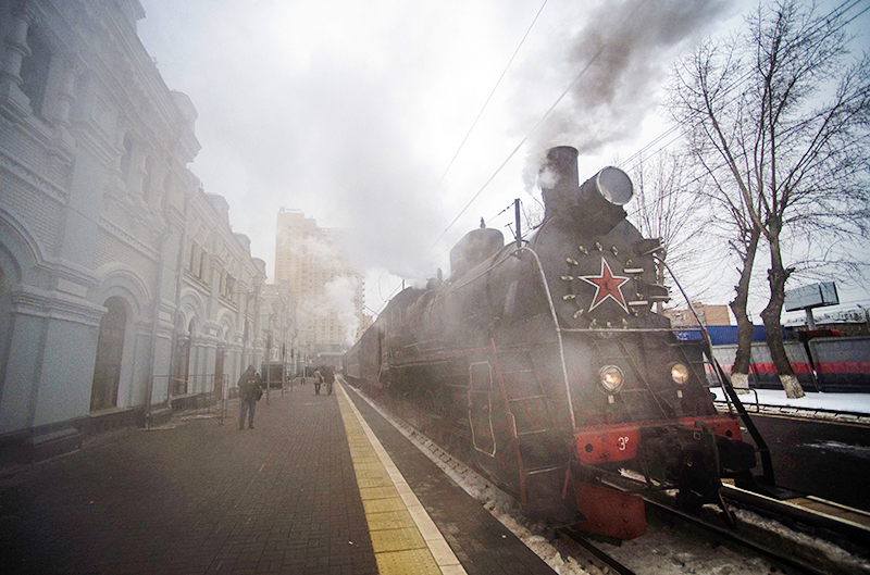 Паровоз на Рижском вокзале